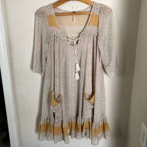 FREE PEOPLE Delicate Boho Flowy Peasant Dress